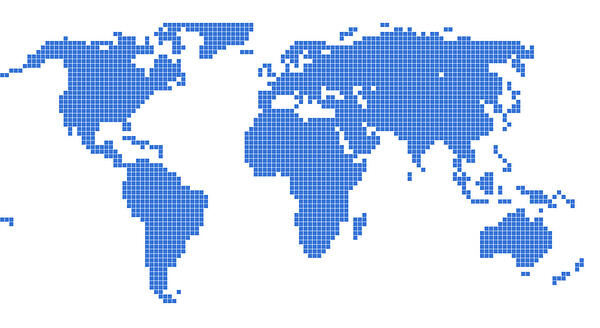 World Map Blank Blue